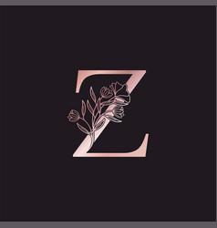 Gold rose flower letter z luxury logo elegant vector