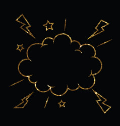 golden glitter of isolated comic speech cloud vector image