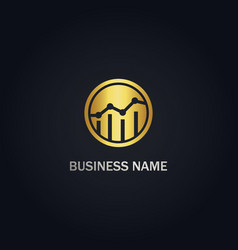 Graph business round gold logo vector