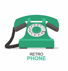 Green vintage telephone isolated on white vector