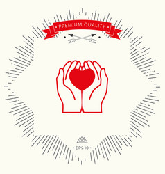 hands holding heart - protection icon vector image