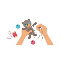 Hands sewing toy kids lab workshop for children vector