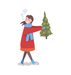 happy girl in winter clothing carrying christmas vector image