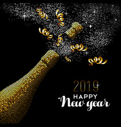 Happy new year 2019 champagne gold card vector