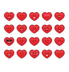 hearts emoji set vector image