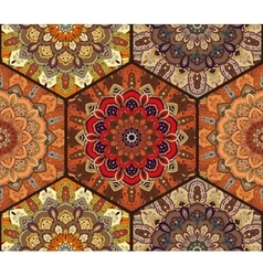 Honey Comb Hex Pattern from Flower Mandala Brown vector image