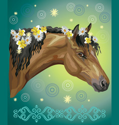 Horse portrait with flowers20 vector