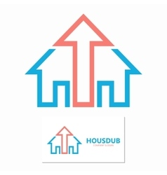 House and up arrow logo template vector image
