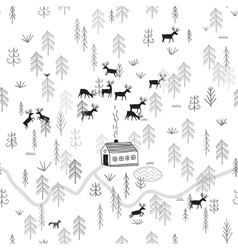 house in winter forest with deers vector image