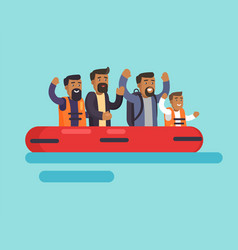 Human on boat for safety vector