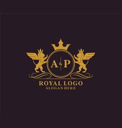 Initial ap letter lion royal luxury heraldiccrest vector