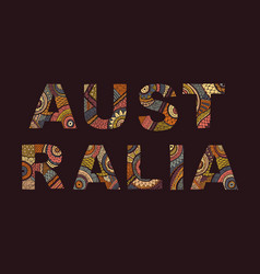 inscription of australia in ethnic style vector image