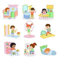 Kids everyday activities set children daily vector