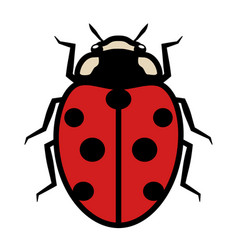 ladybug logo symbol icon with seven black spots vector image