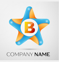 Letter b logo symbol in the colorful star on grey vector