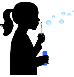 Little girl blowing soap bubbles silhouette vector