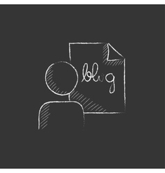 Man and sheet with word blog Drawn in chalk icon vector