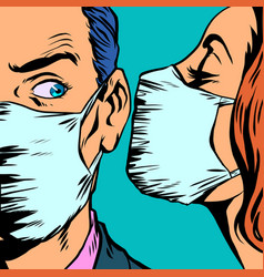 man and woman in medical masks vector image