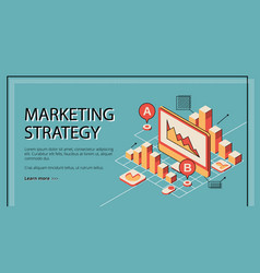 Marketing strategy landing page database diagram vector