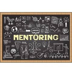 Mentoring on chalkboard vector image