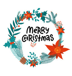 merry christmas hand drawn lettering in round vector image
