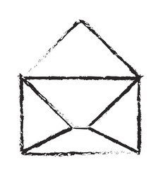 monochrome blurred silhouette of opened envelope vector image