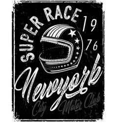 Motorcycle helmet typography new york sports club vector