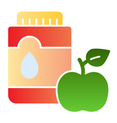 Mouthwash with apple flat icon mouth antiseptic vector
