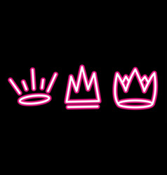 Neon crown graffiti set in pink over black vector