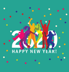 new year card 2020 symbol young group happy people vector image