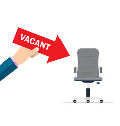 office chair and a sign vacant hiring and vector image