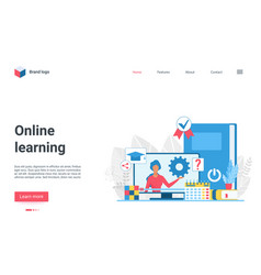 online learning technology landing page teacher vector image