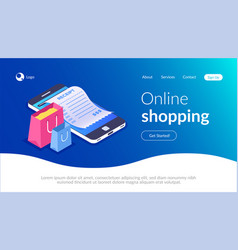 online shopping with smartphone e-commerce vector image