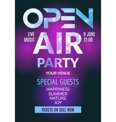 Open Air Party template design Open Air poster vector image