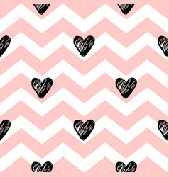 Pink lines and black hearts vector