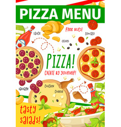 Pizza menu card for fast food restaurant pizzeria vector