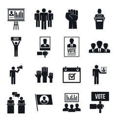 political meeting icon set simple style vector image