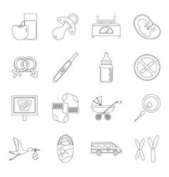 Pregnancy symbols icons set outline style vector
