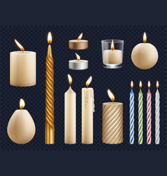 realistic candles church wax candles collection vector image