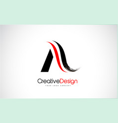 Red and black a letter design brush paint stroke vector