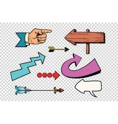 Retro set arrows on a transparent background vector
