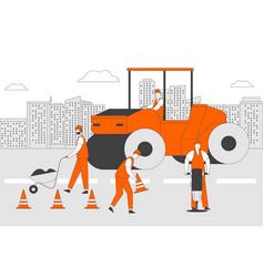 Roadwork and asphalt paving men in overall vector