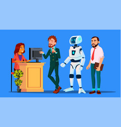 robot standing in line among people at check-in vector image