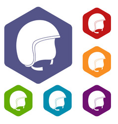 Safety helmet icons set hexagon vector