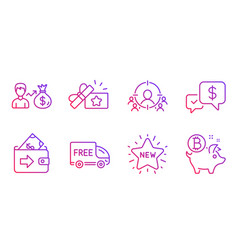 Sallary payment received and new star icons set vector