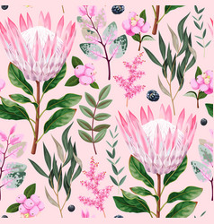 Seamless pattern with protea and greenery vector