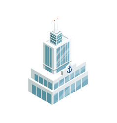 Seaport building isometric 3d element vector