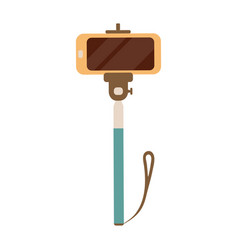 selfie stick with mobile or cell phone vector image