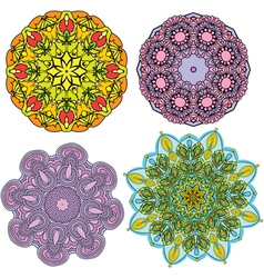 Set of 4 colorful round ornaments kaleidoscope flo vector