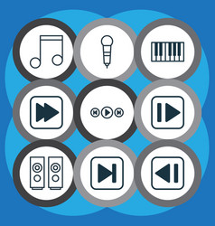 Set of 9 audio icons includes following song vector
